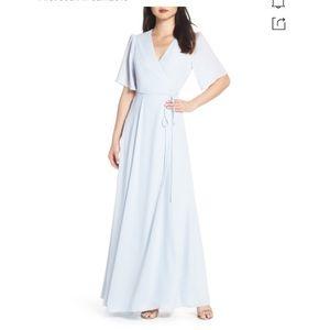 Wayf Aurelia True Wrap Evening Dress Blue Medium